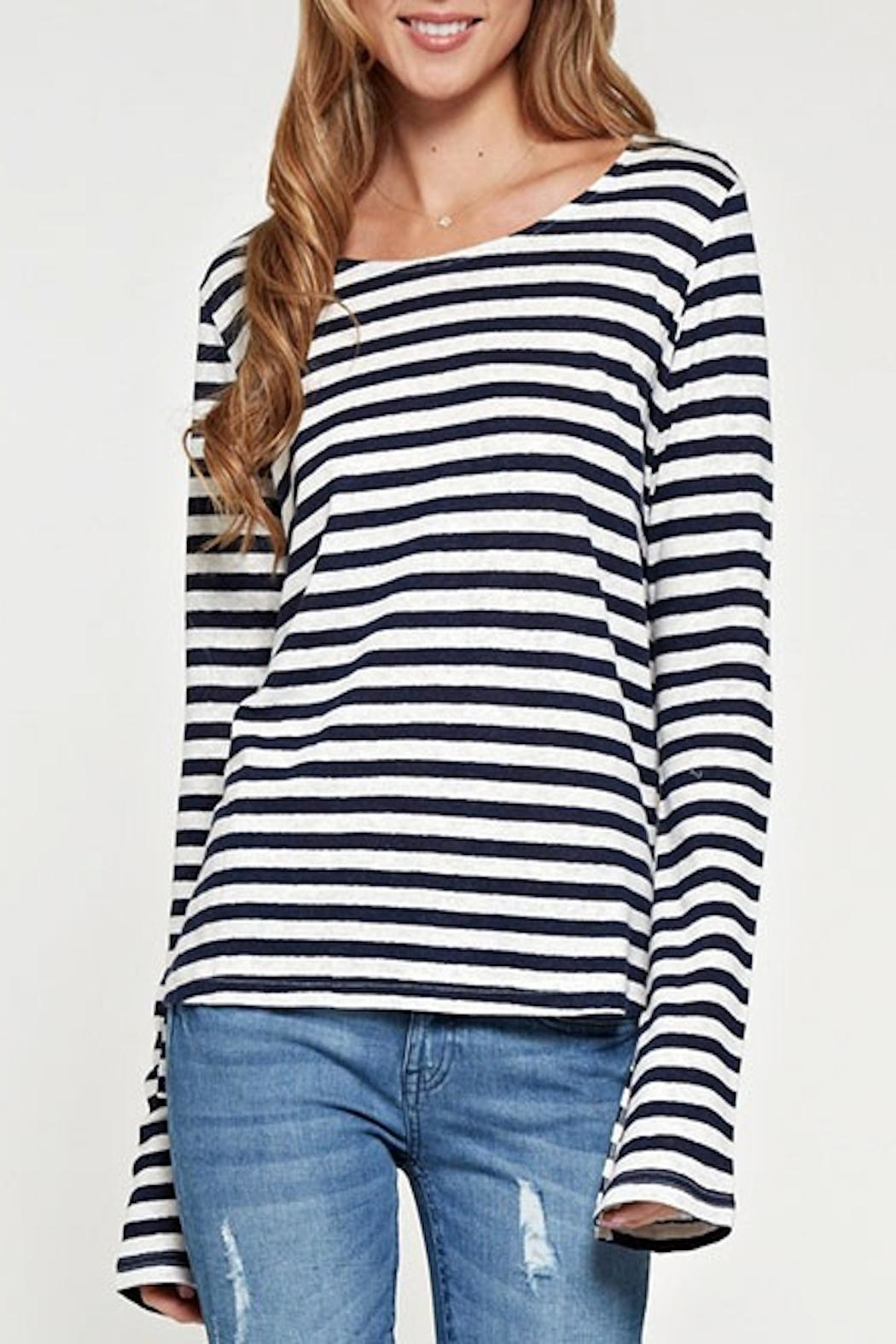 Apricot Lane Striped Linen Top-Navy - Front Cropped Image