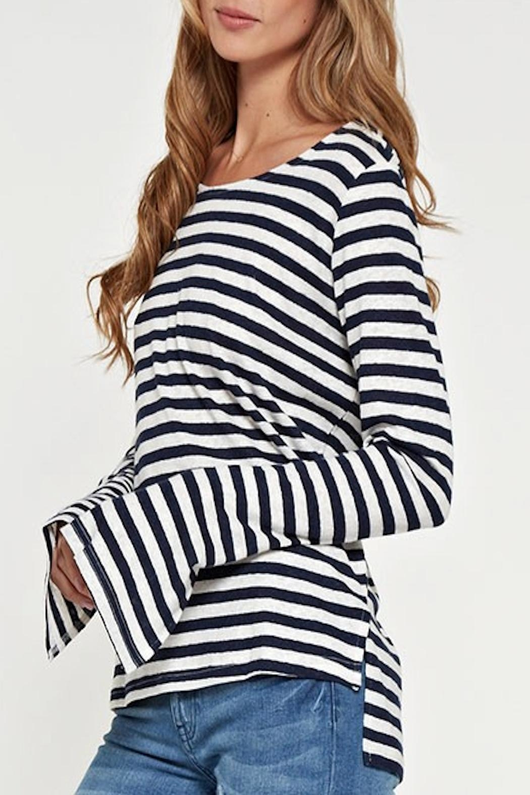 Apricot Lane Striped Linen Top-Navy - Front Full Image