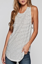 Apricot Lane Striped Racer Tank-Black - Product Mini Image
