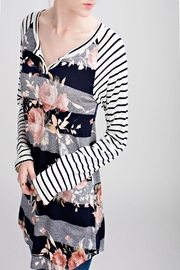 Apricot Lane Striped Floral Top - Front cropped