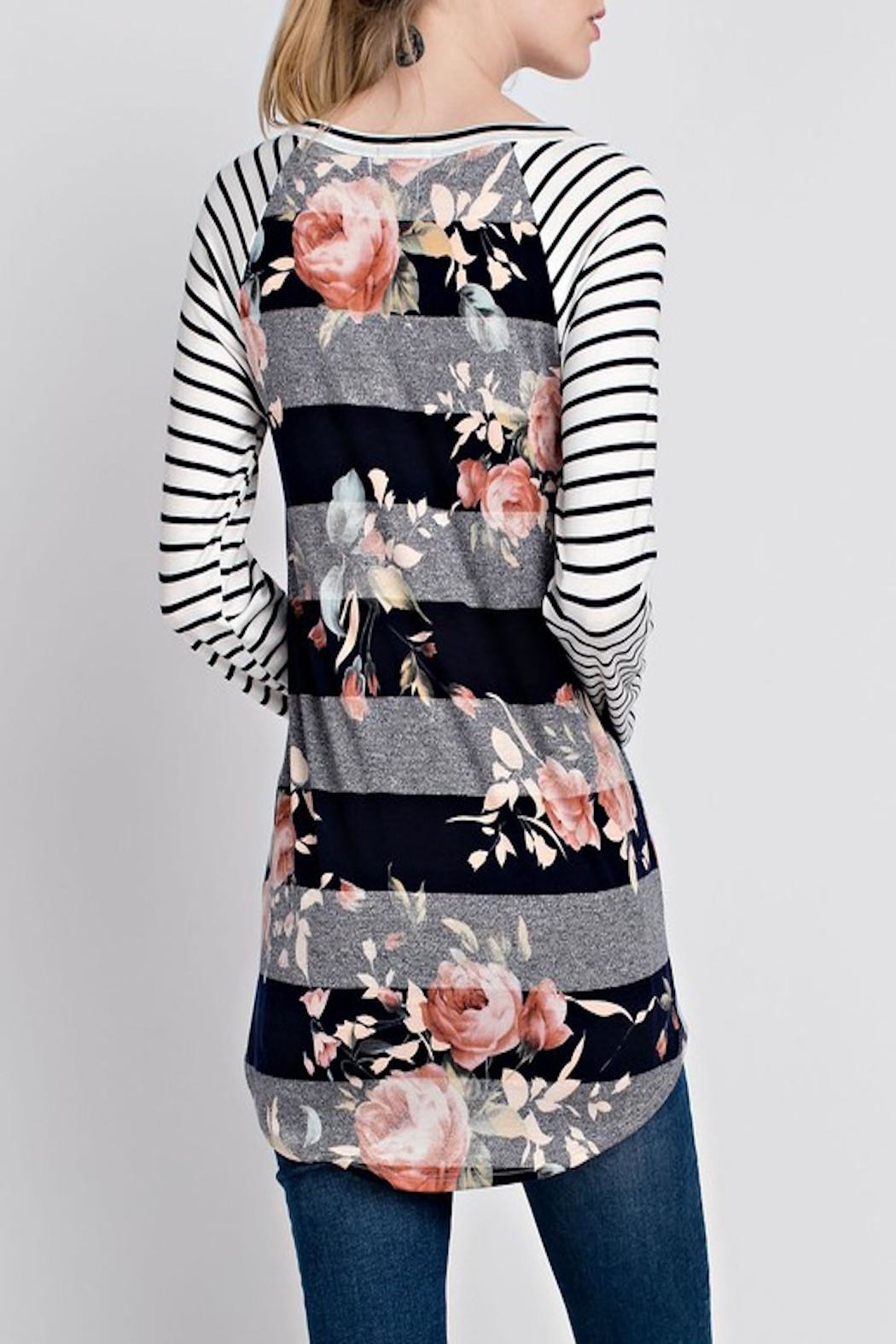 Apricot Lane Striped Floral Top - Side Cropped Image
