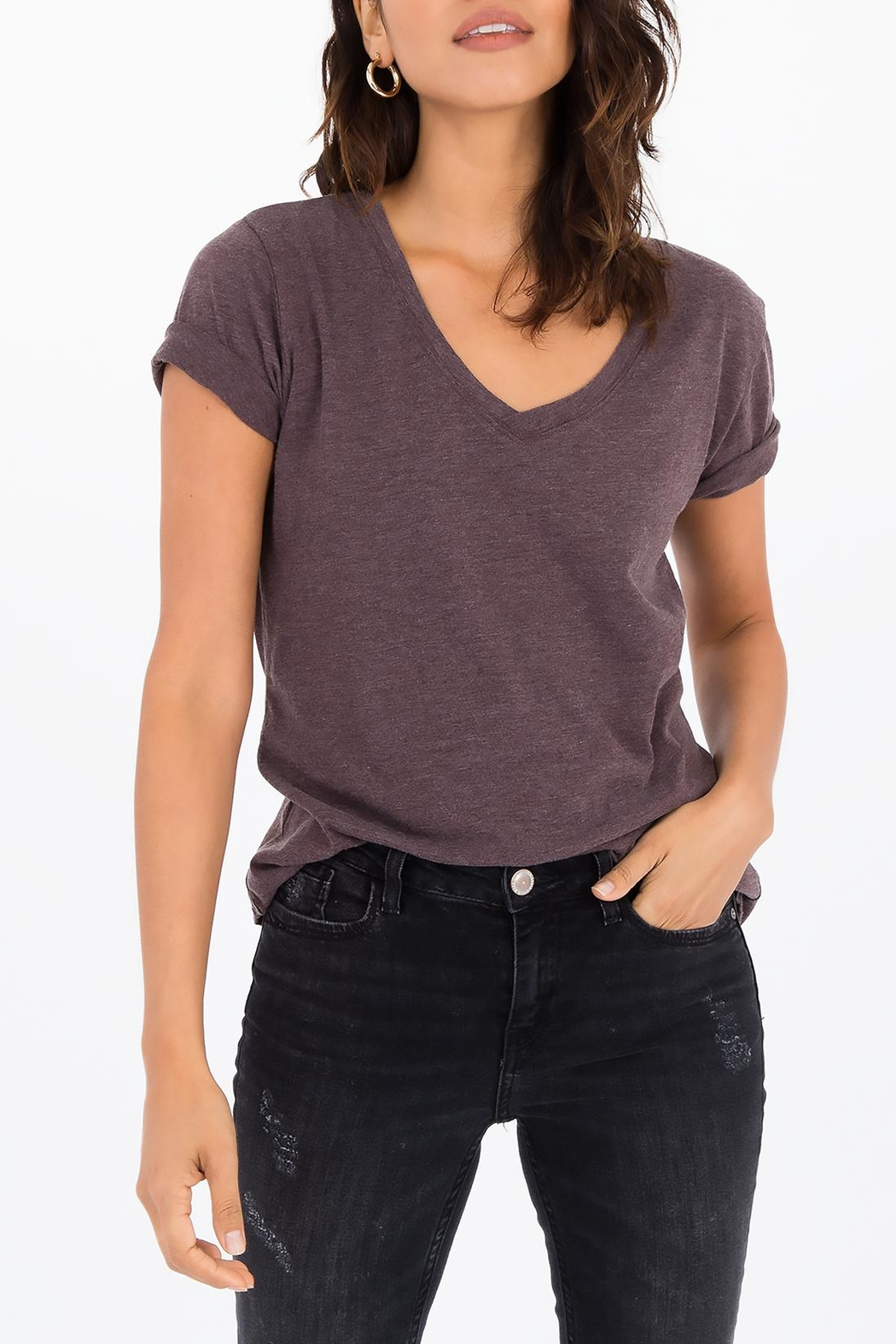 Apricot Lane The V-Neck Tee-Raisin - Front Cropped Image
