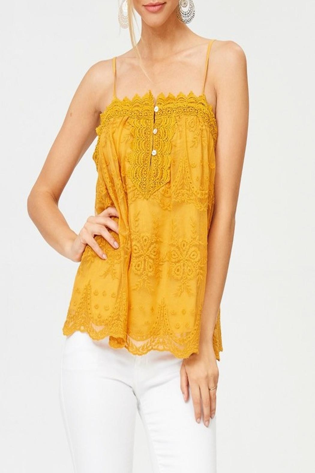 Apricot Lane St. Cloud Lace Button Up Top - Front Cropped Image