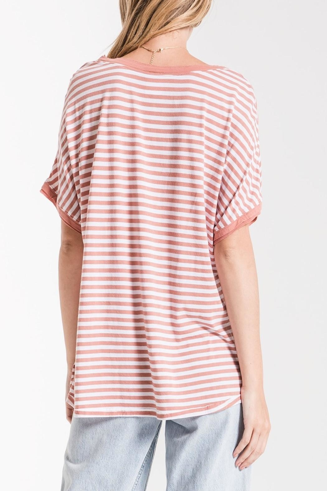 Apricot Lane St. Cloud Striped Bf-Tee-Rose - Side Cropped Image