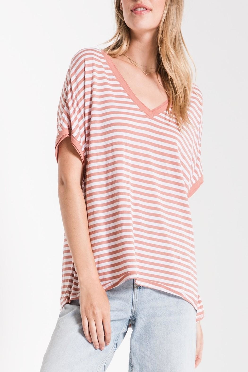 Apricot Lane St. Cloud Striped Bf-Tee-Rose - Main Image