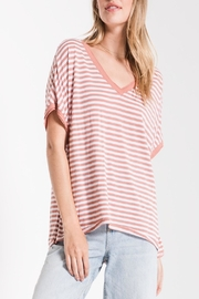 Apricot Lane St. Cloud Striped Bf-Tee-Rose - Front cropped