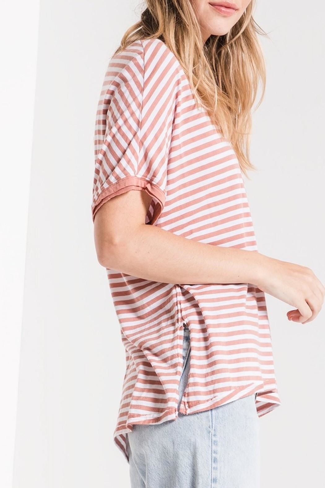 Apricot Lane St. Cloud Striped Bf-Tee-Rose - Front Full Image