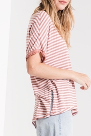 Apricot Lane St. Cloud Striped Bf-Tee-Rose - Front full body