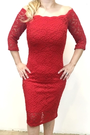 April Lace Red Dress - Front cropped