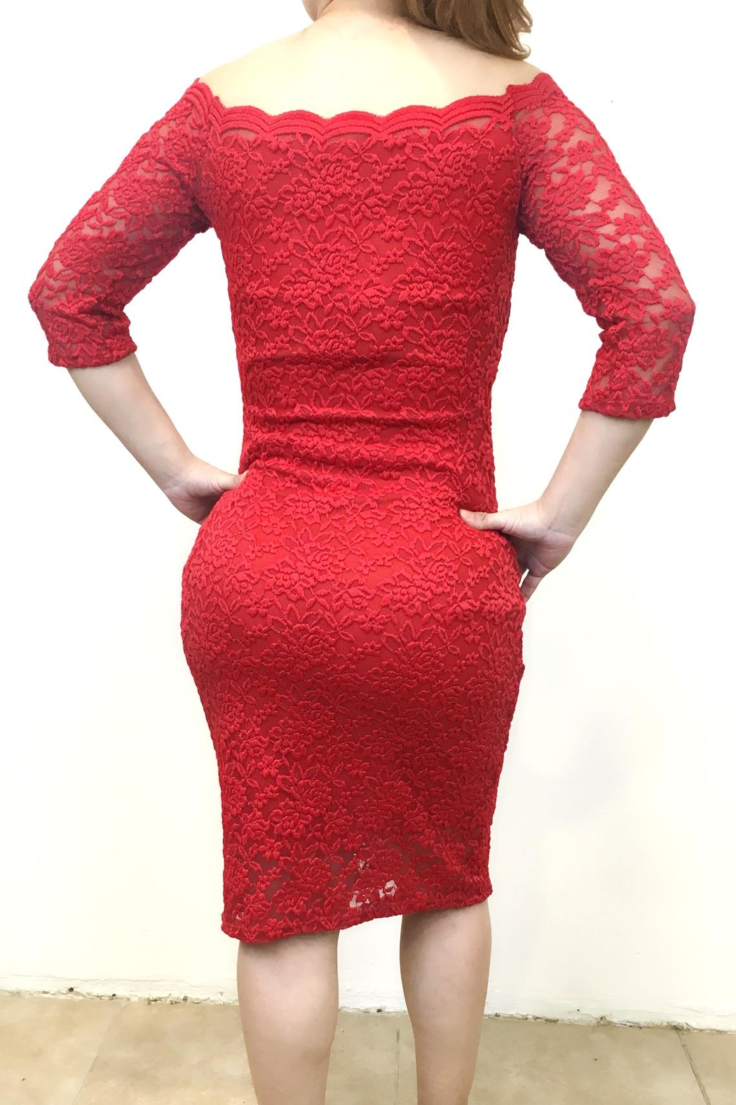 April Lace Red Dress - Front Full Image