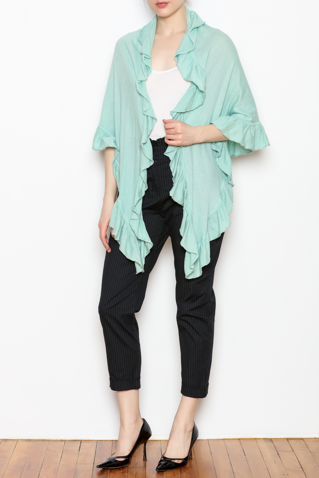 April Marin Ruffle Wrap Sweater - Front Full Image
