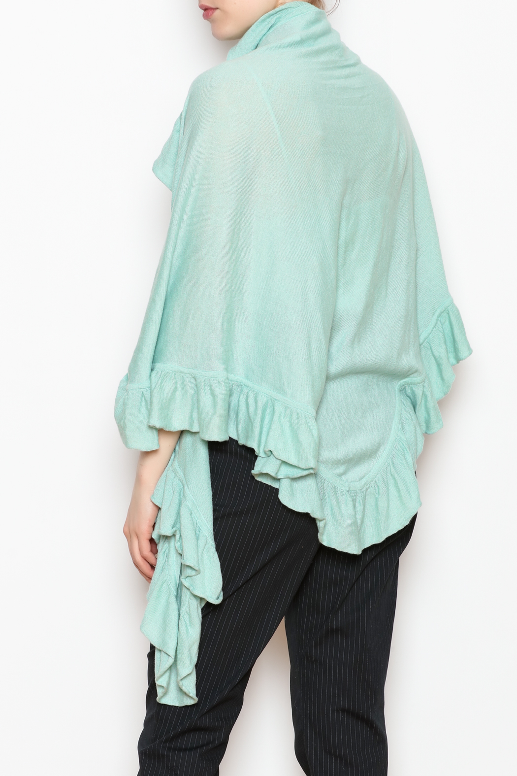 April Marin Ruffle Wrap Sweater - Back Cropped Image
