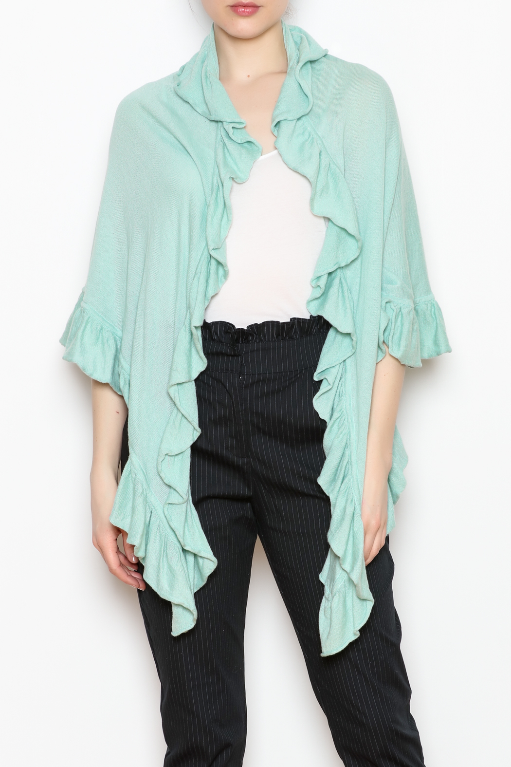 April Marin Ruffle Wrap Sweater - Front Cropped Image