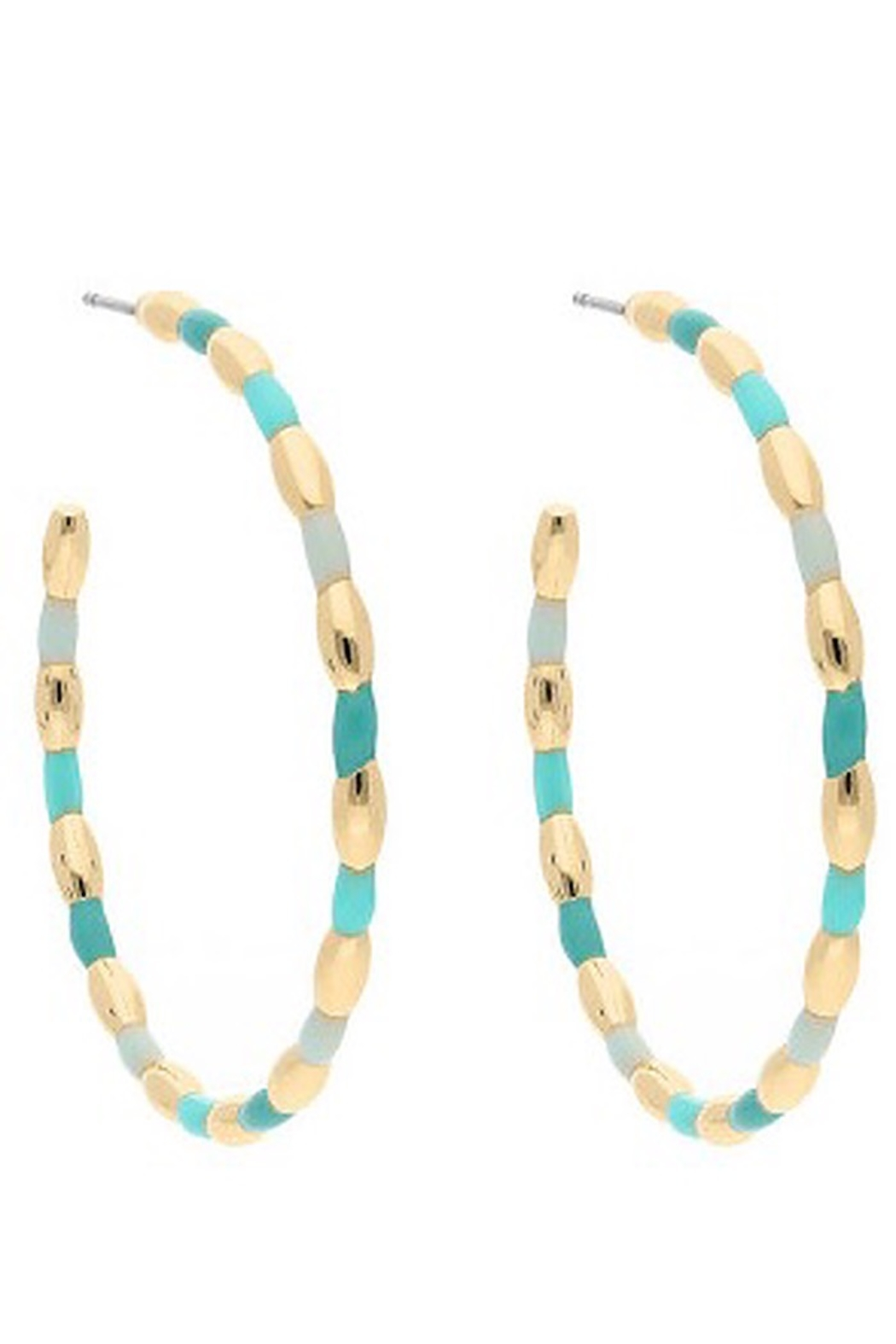 Liza's Jewelry  Aqua and Gold Hoop Earrings - Front Cropped Image