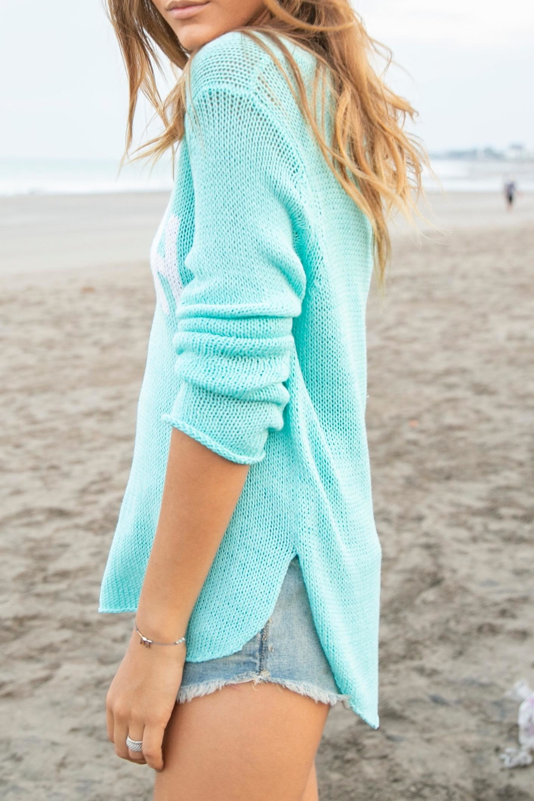 Wooden Ships Aqua Beach Sweater - Side Cropped Image