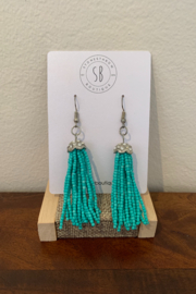 Amber Aqua Beaded Dangly Earrings - Product Mini Image