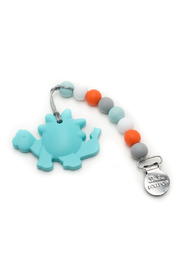 loulou LOLLIPOP Aqua Dinosaur Silicone Teether with Holder Set - Front cropped