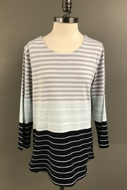 Multiples Aqua/Grey/Navy Stripe Tunic - Front cropped