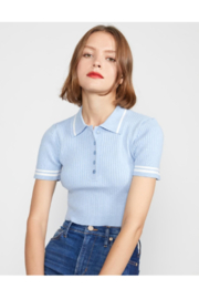 Cynthia Rowley Aqua Rib Knit Cropped Top - Product Mini Image