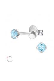 Silver Jewels Aquamarine Crystal Stud Earrings - Front cropped