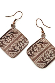 Anju Handcrafted Artisan Jewelry AQUARE WHITE/BRONZE ER - Product Mini Image