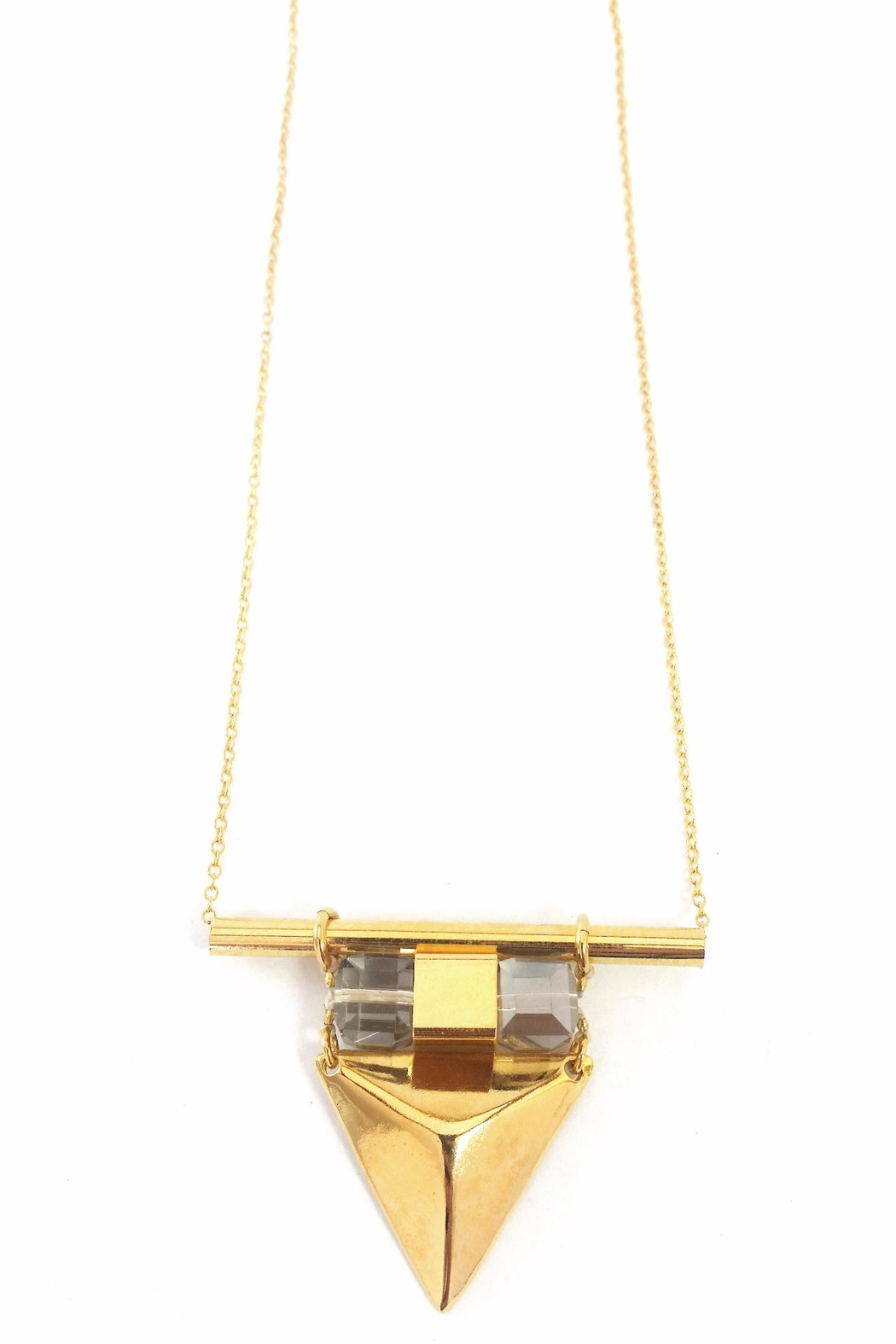 AR-by roni albert Vina Necklace- Gold&Crystal - Front Cropped Image