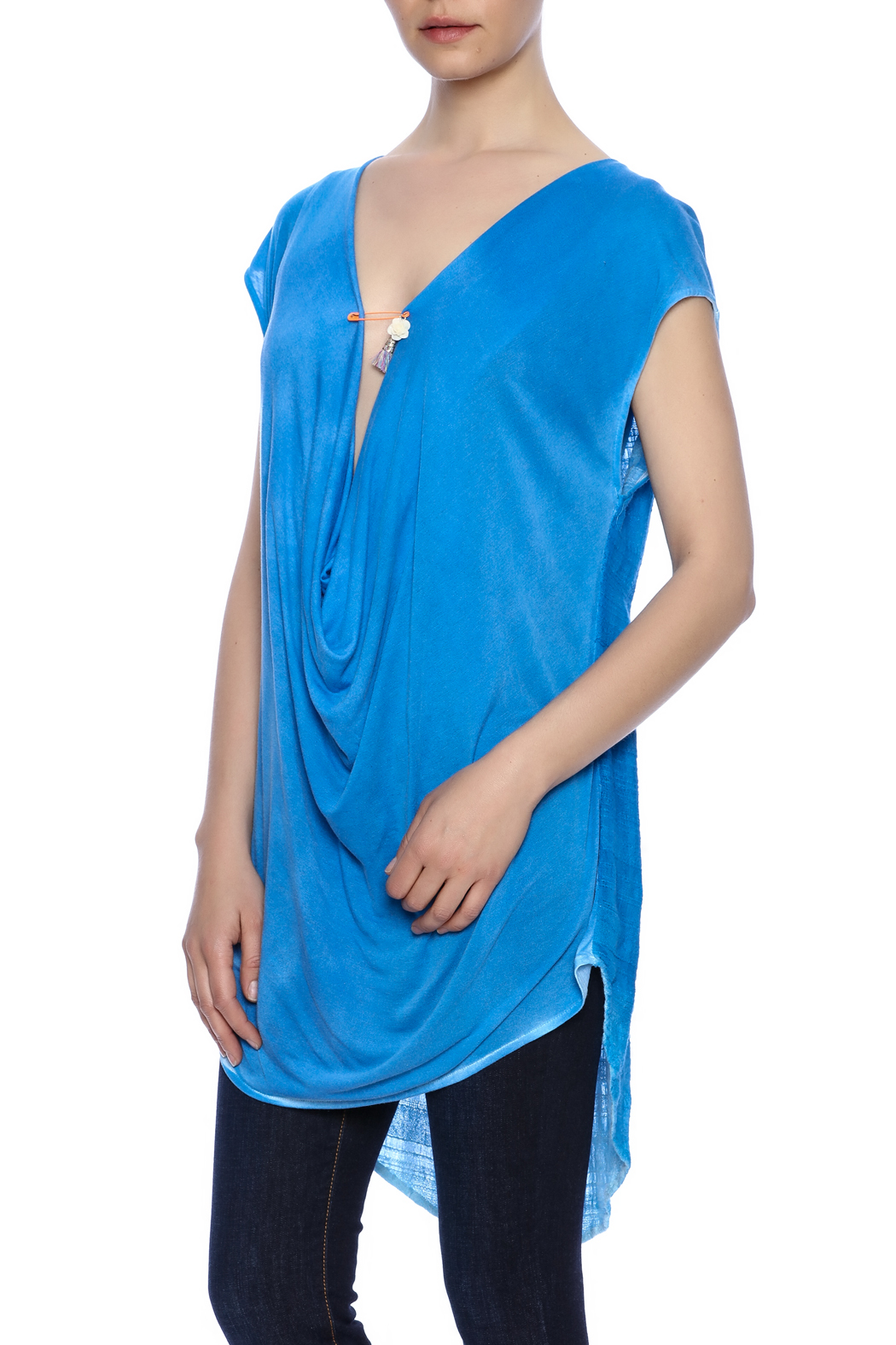 Aratta Blue Cowl-Neck Top - Front Cropped Image