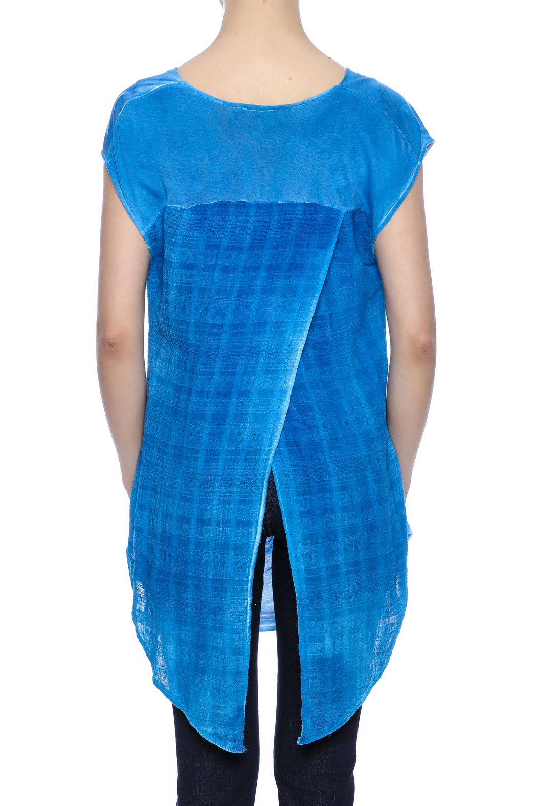 Aratta Blue Cowl-Neck Top - Back Cropped Image