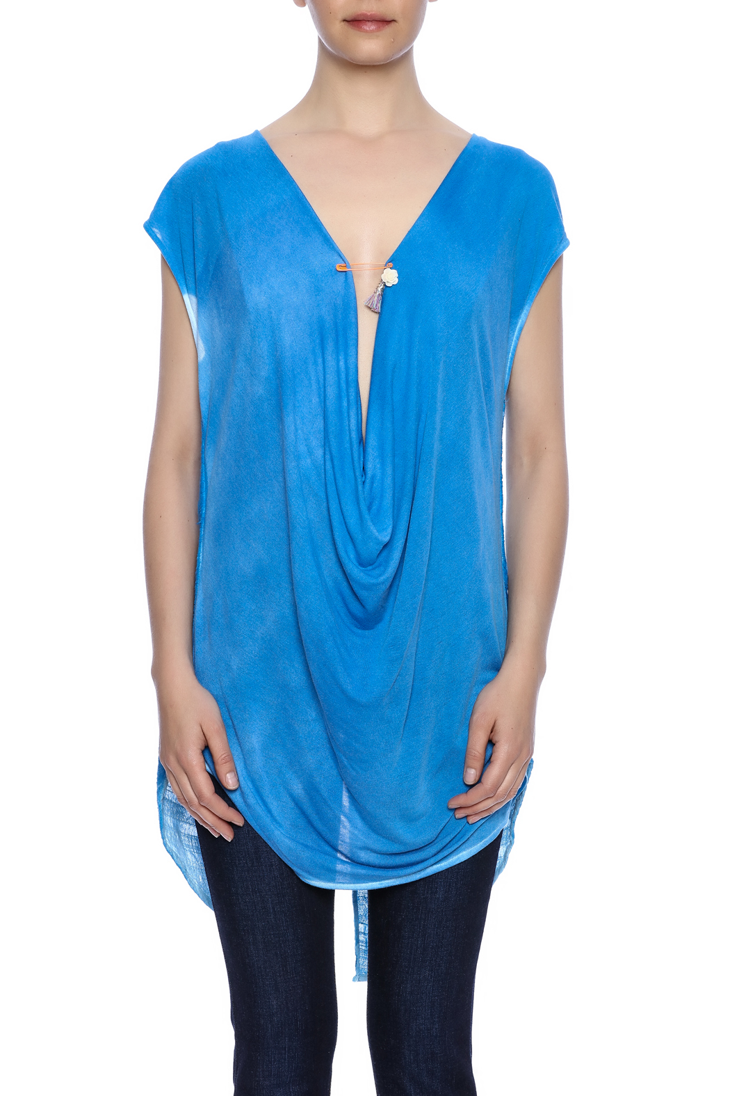 Aratta Blue Cowl-Neck Top - Side Cropped Image