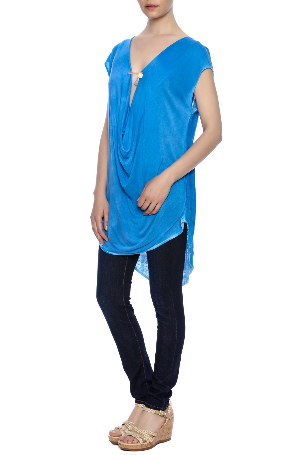 Aratta Blue Cowl-Neck Top - Front Full Image