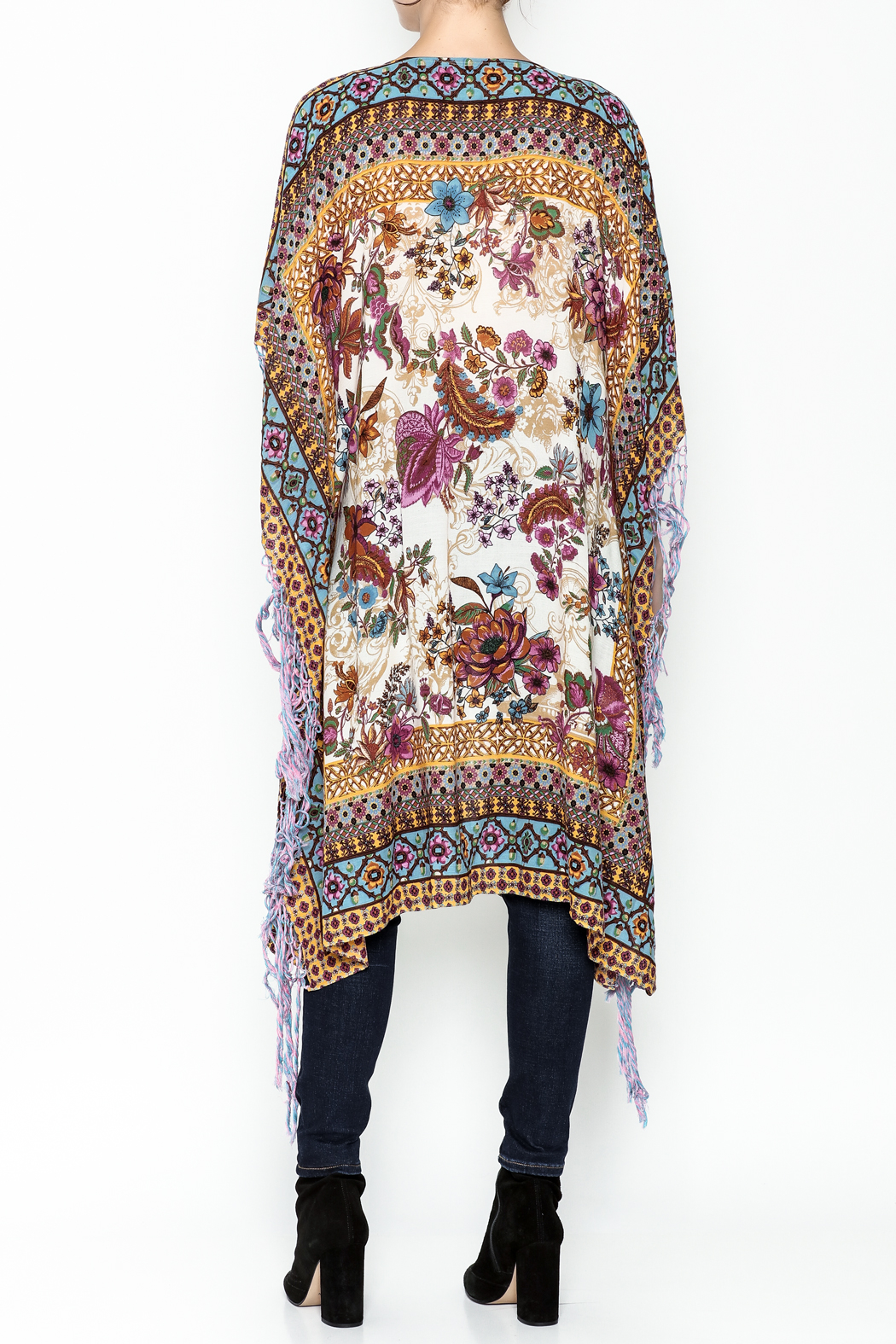 Aratta Bohemian Fringed Wrap - Back Cropped Image