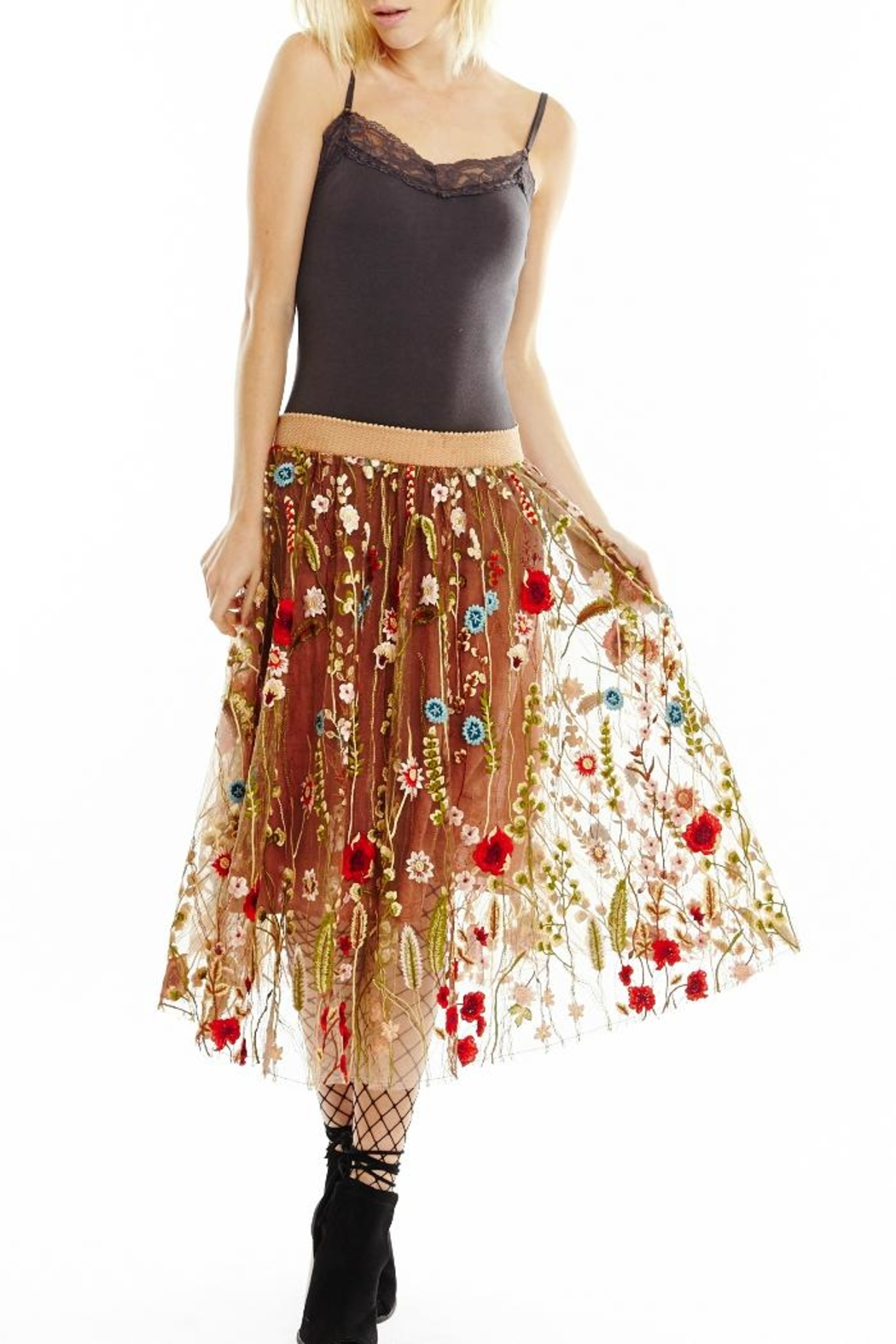Aratta Embroidered Floral Skirt - Main Image