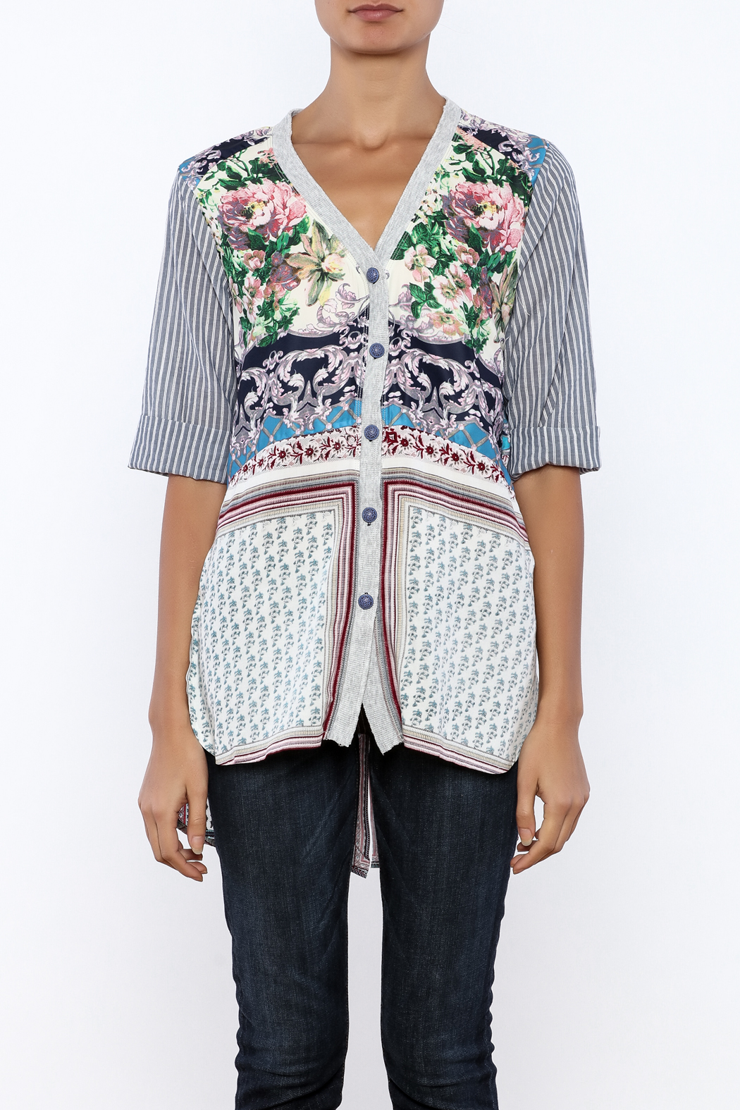 Aratta Floral Stripe Cardigan - Side Cropped Image