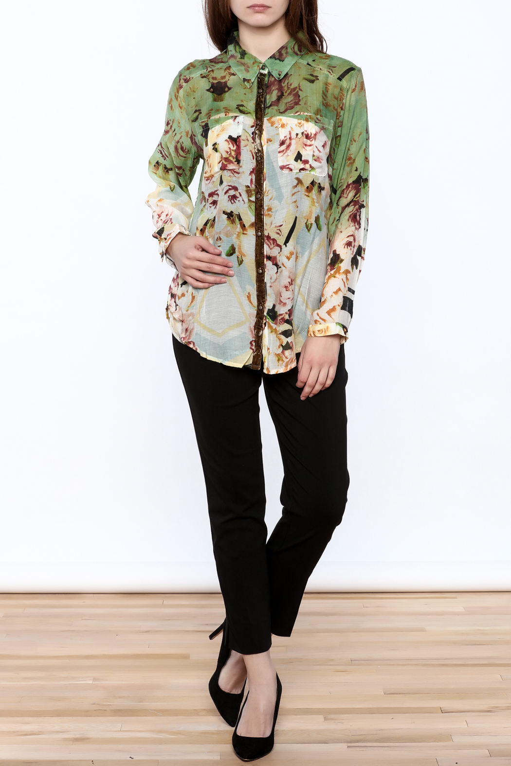 Aratta Floral Button-Down Top - Front Full Image