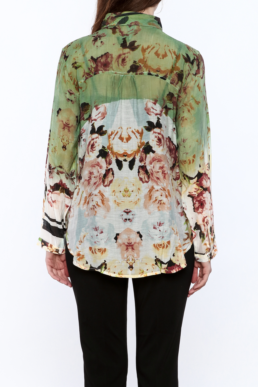Aratta Floral Button-Down Top - Back Cropped Image