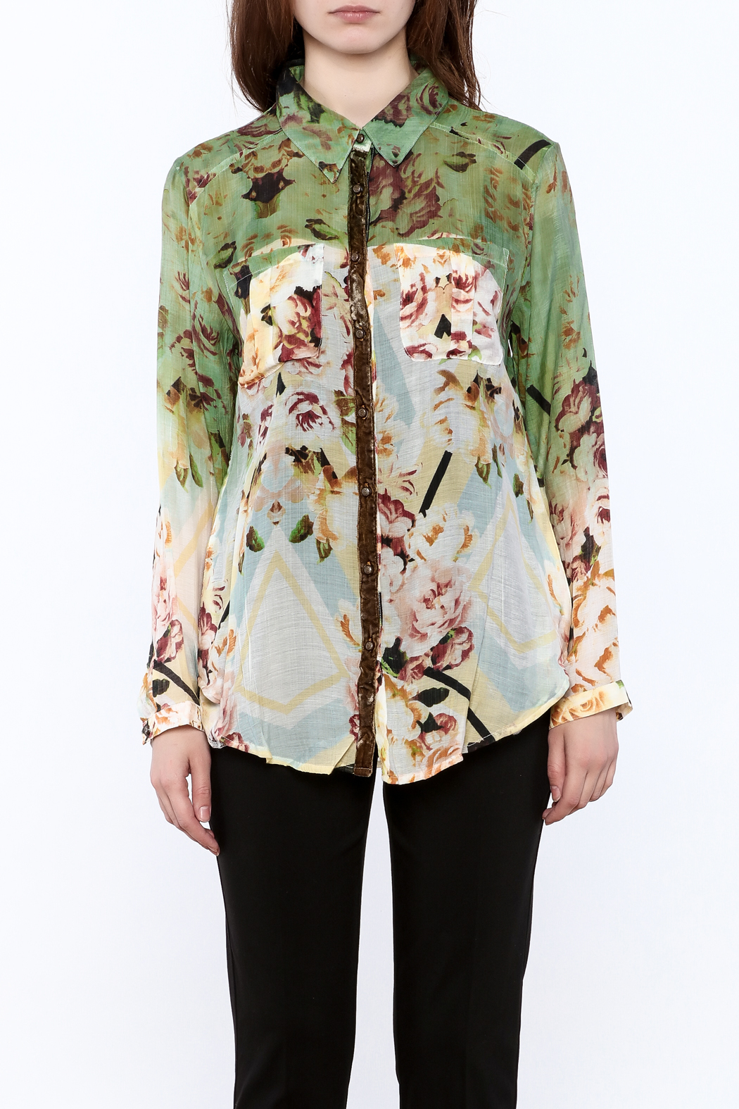 Aratta Floral Button-Down Top - Side Cropped Image