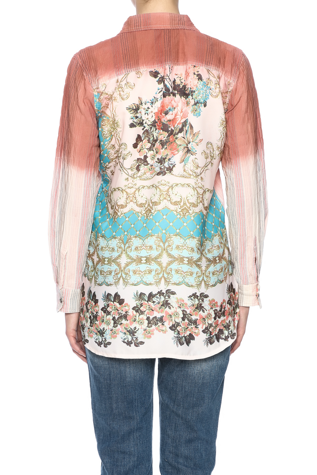 Aratta Ombre Button Shirt - Back Cropped Image