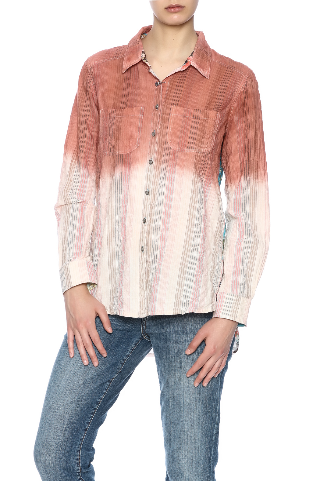 Aratta Ombre Button Shirt - Front Cropped Image