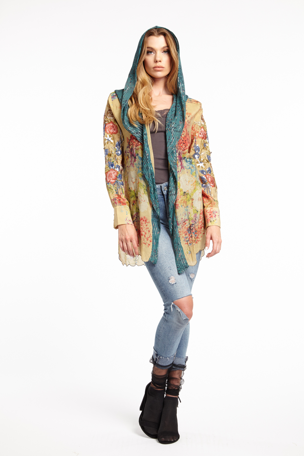 Aratta Stole Her Away Hoody Kimono - Side Cropped Image