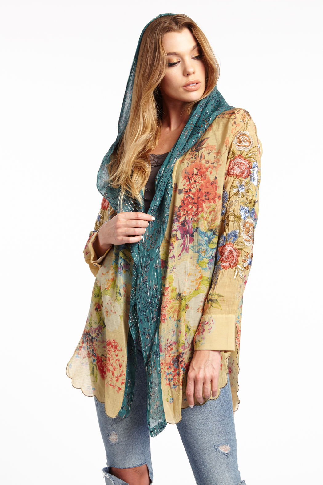 Aratta Stole Her Away Hoody Kimono - Front Cropped Image