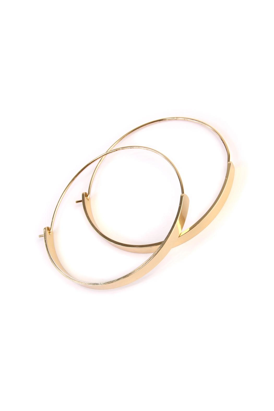 Riah Fashion Arc-Bar-Hinge Hoop Earring - Front Full Image