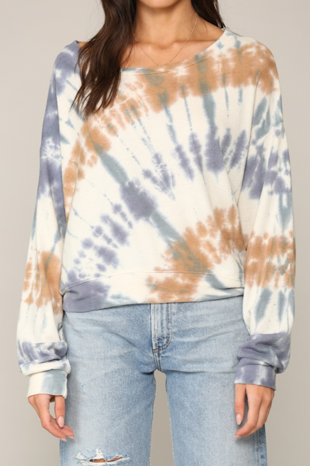 Blank Paige Arced TieDye Top - Front Cropped Image