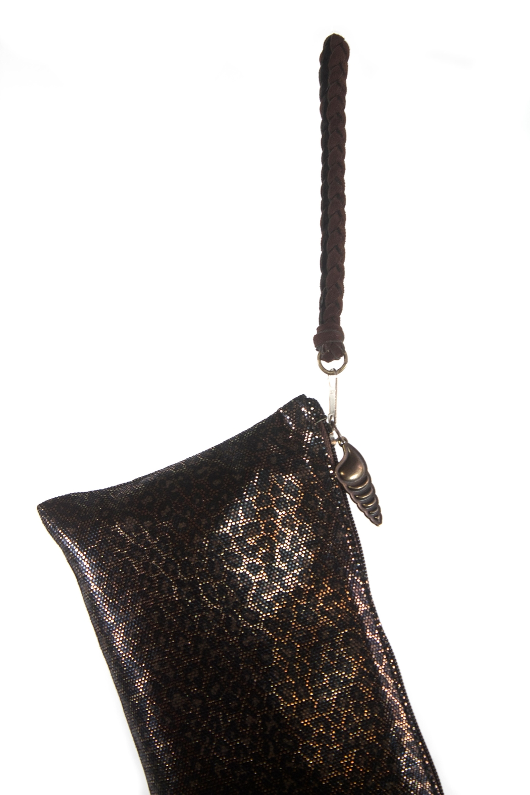 Areias Leather Animal Print Wristlet - Side Cropped Image