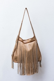 Areias Leather Beige Fringe Bag - Product Mini Image