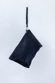 Areias Leather Black Clutch - Front full body