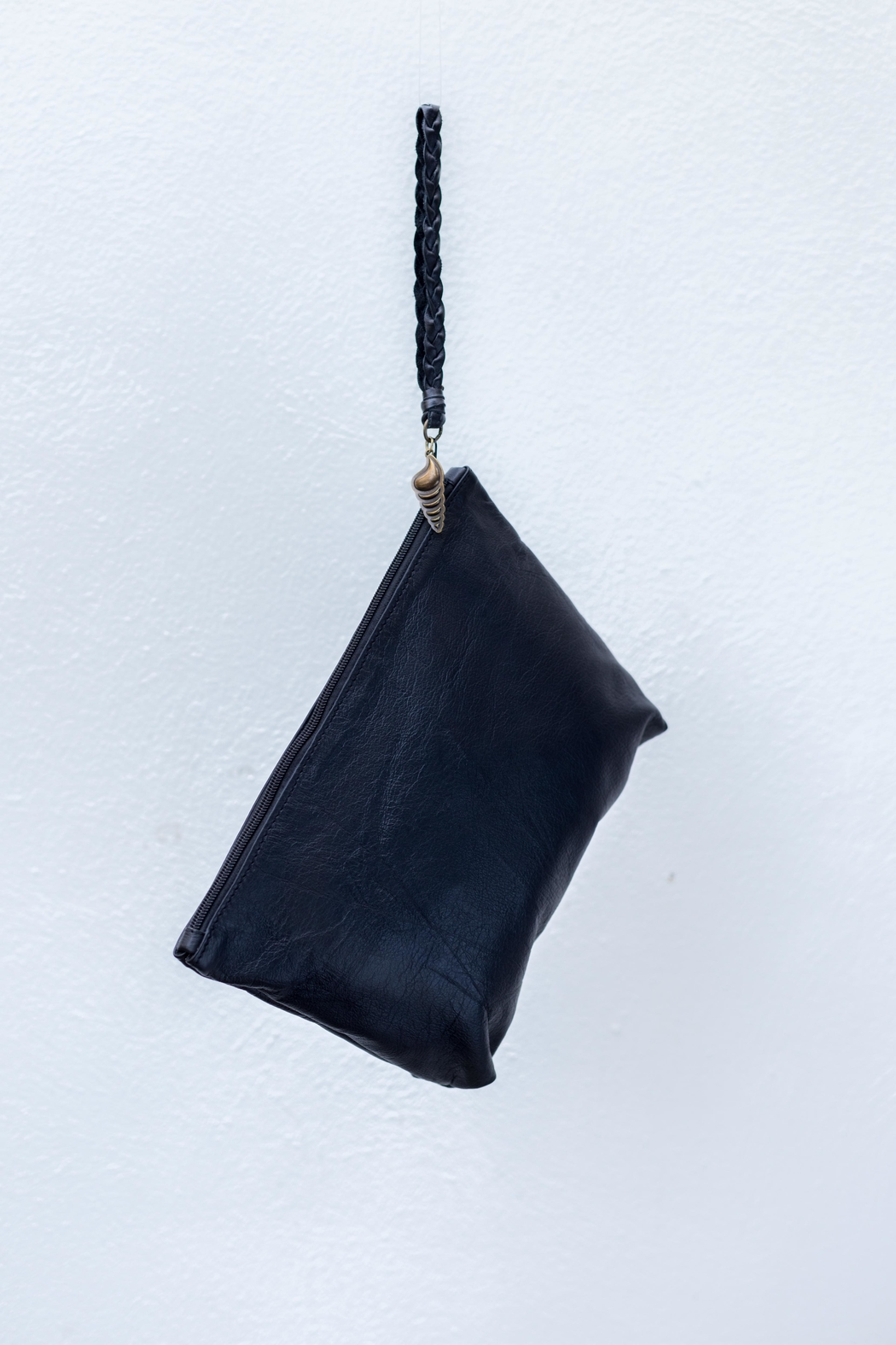 Areias Leather Black Clutch - Front Cropped Image