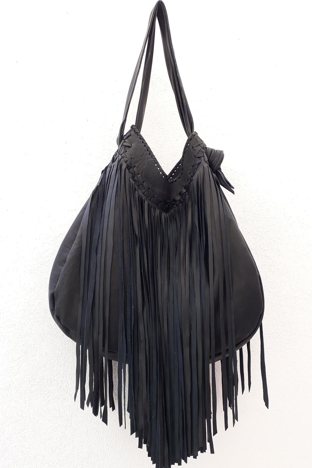 Areias Leather Black Fringes Bag - Front Full Image