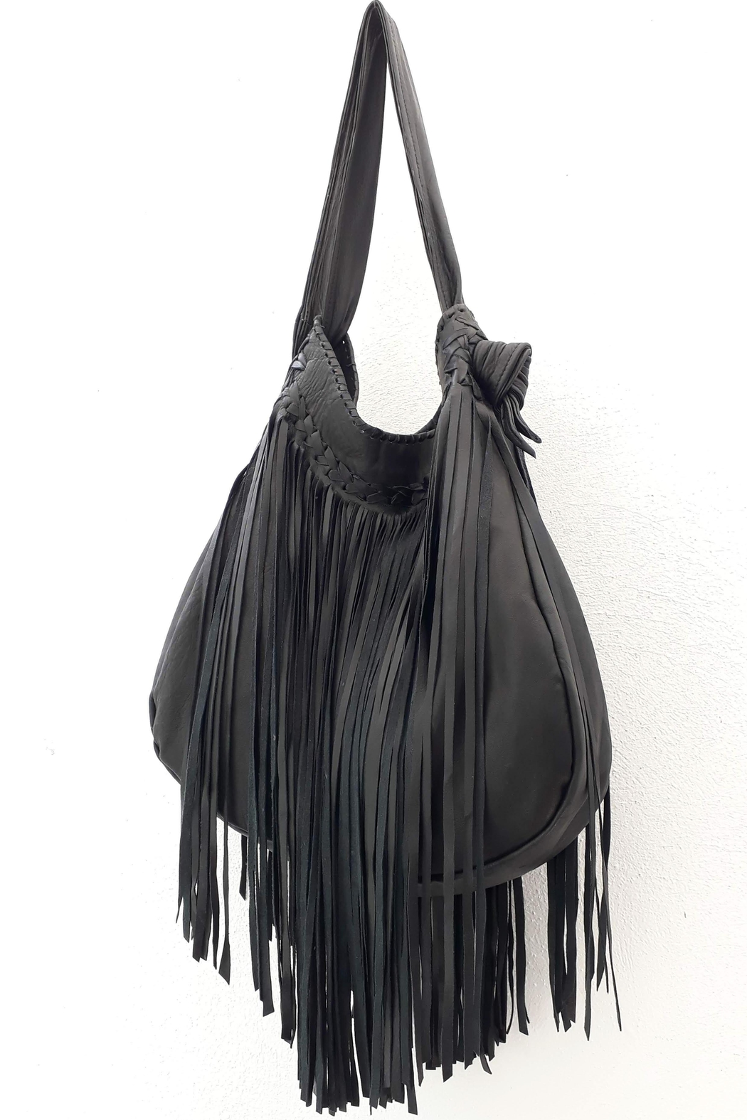 Areias Leather Black Fringes Bag - Front Cropped Image