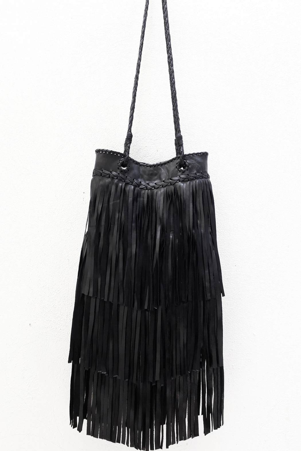 Areias Leather Black Leather Bag - Side Cropped Image