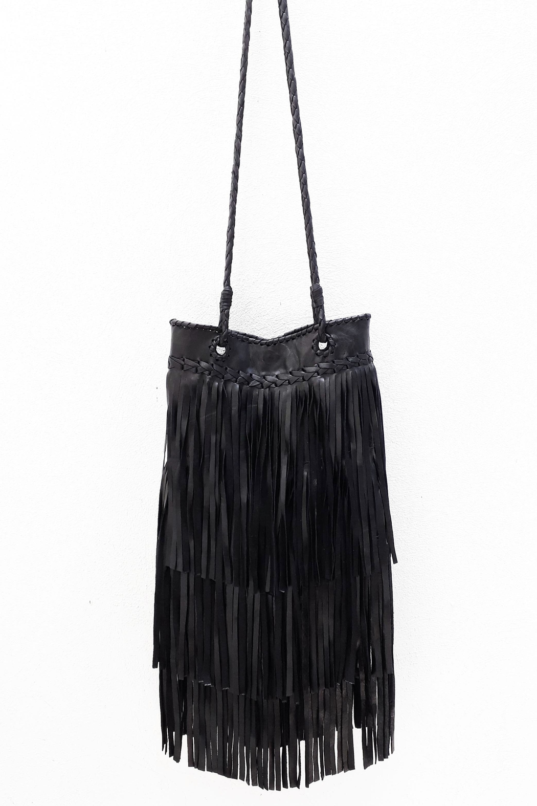 Areias Leather Black Leather Bag - Front Cropped Image
